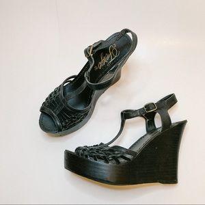 Fergie Quilla Black Wedge Platform Sandals
